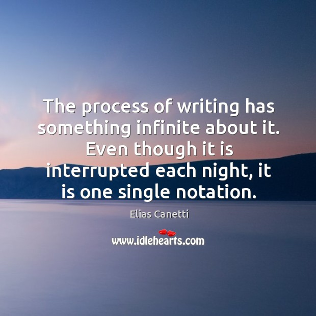 Image, The process of writing has something infinite about it. Even though it is interrupted each night, it is one single notation.