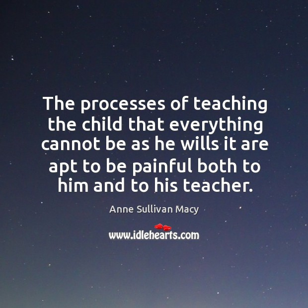 The processes of teaching the child that everything cannot be as he wills Image