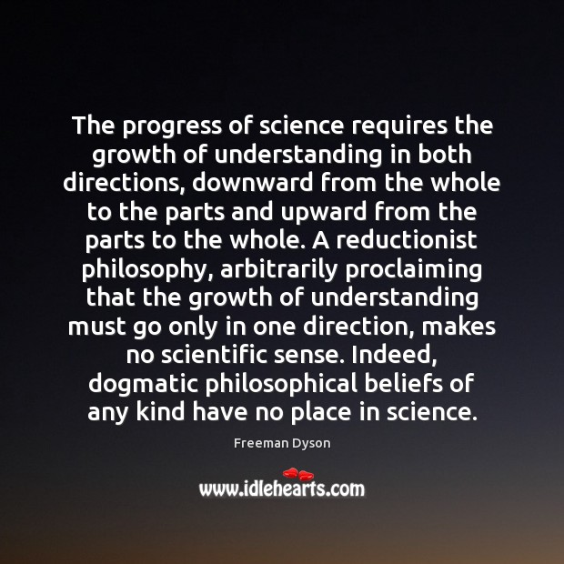 The progress of science requires the growth of understanding in both directions, Image