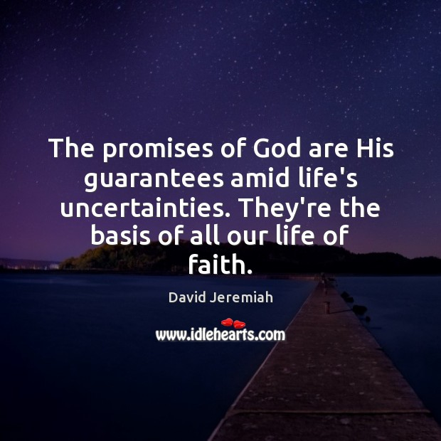 The promises of God are His guarantees amid life's uncertainties. They're the David Jeremiah Picture Quote