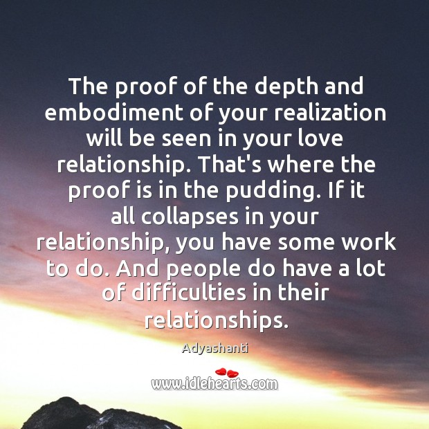 Image, The proof of the depth and embodiment of your realization will be