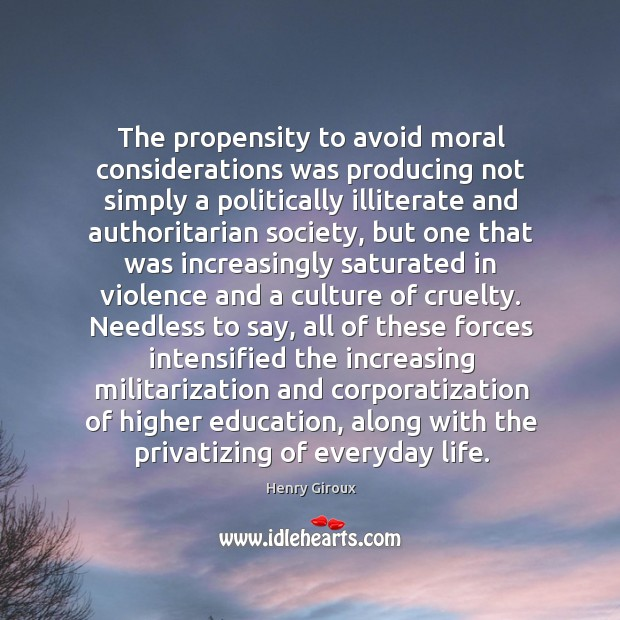 The propensity to avoid moral considerations was producing not simply a politically Image