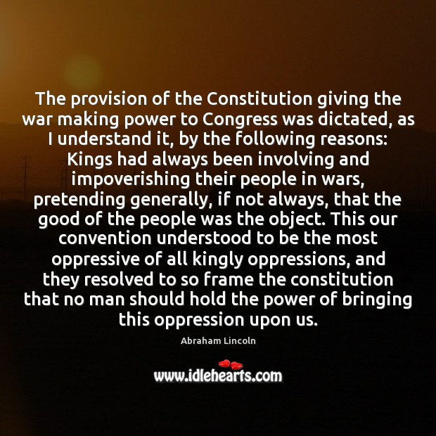 Image, The provision of the Constitution giving the war making power to Congress
