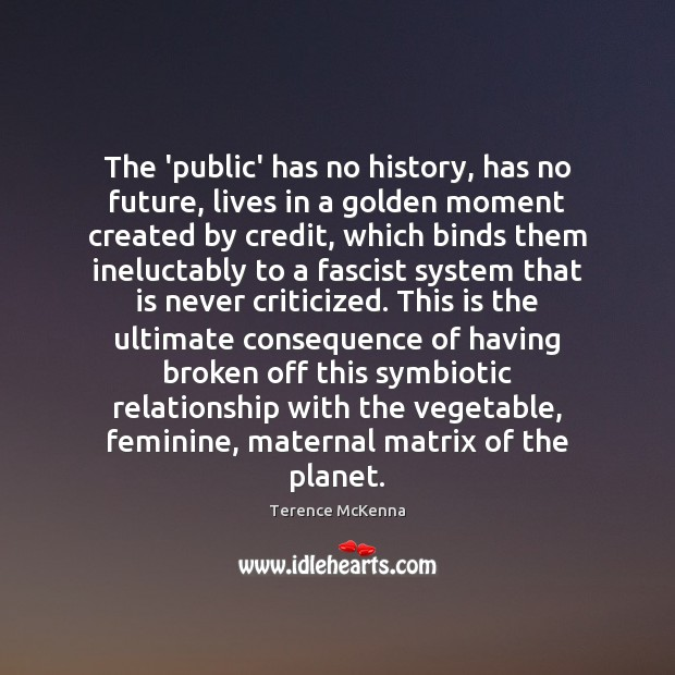 Image, The 'public' has no history, has no future, lives in a golden