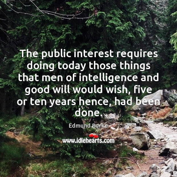 The public interest requires doing today those things that men of intelligence Edmund Burke Picture Quote