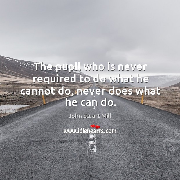 Image, The pupil who is never required to do what he cannot do, never does what he can do.