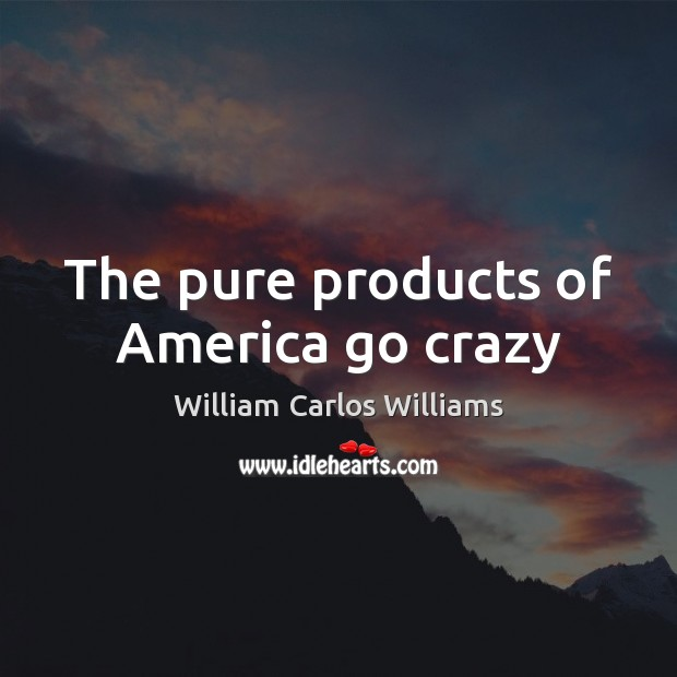The pure products of America go crazy William Carlos Williams Picture Quote