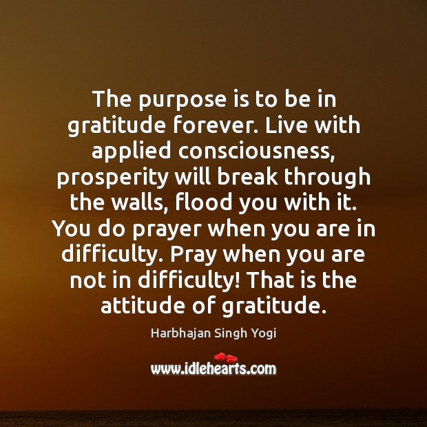 The purpose is to be in gratitude forever. Live with applied consciousness, Harbhajan Singh Yogi Picture Quote