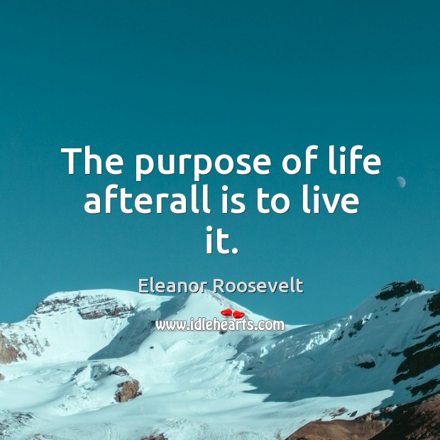 Image, The purpose of life afterall is to live it.
