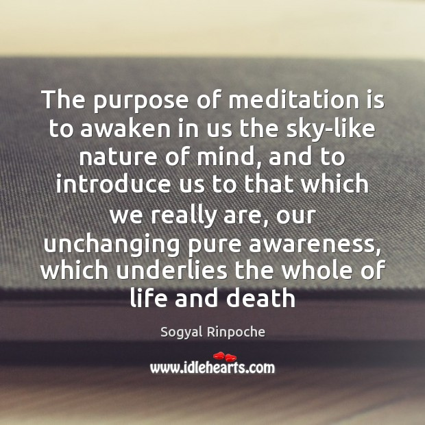 The purpose of meditation is to awaken in us the sky-like nature Sogyal Rinpoche Picture Quote