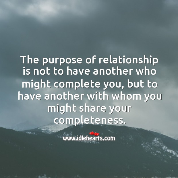 The purpose of relationship. Image