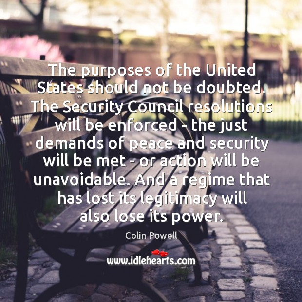 The purposes of the United States should not be doubted. The Security Image
