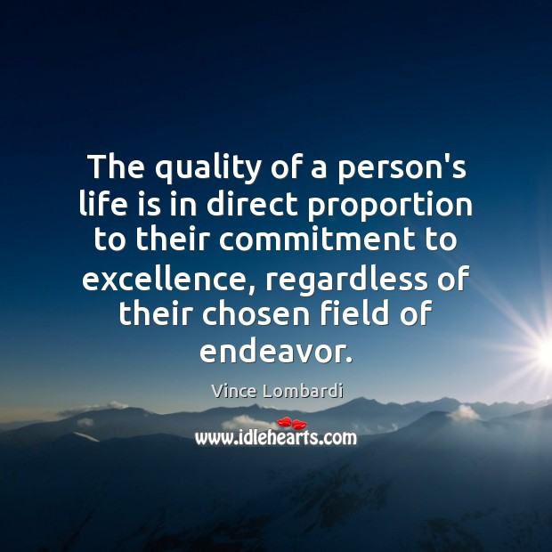 The quality of a person's life is in direct proportion to their Vince Lombardi Picture Quote