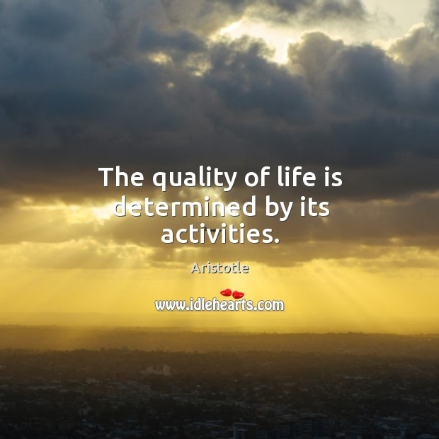 Image, The quality of life is determined by its activities.