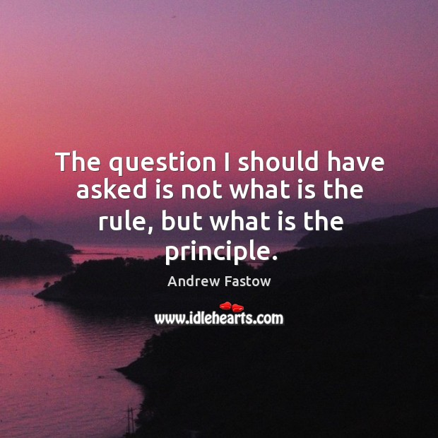 Image, The question I should have asked is not what is the rule, but what is the principle.