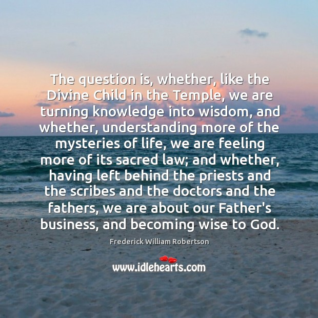 Image, The question is, whether, like the Divine Child in the Temple, we