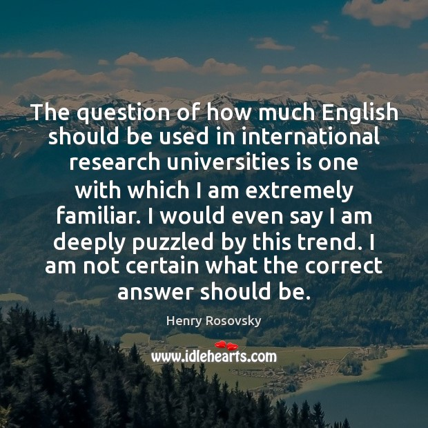 Image, The question of how much English should be used in international research