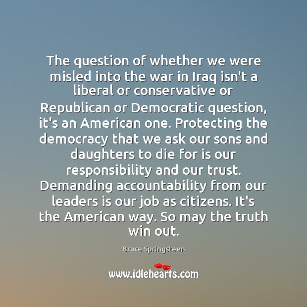 The question of whether we were misled into the war in Iraq Image