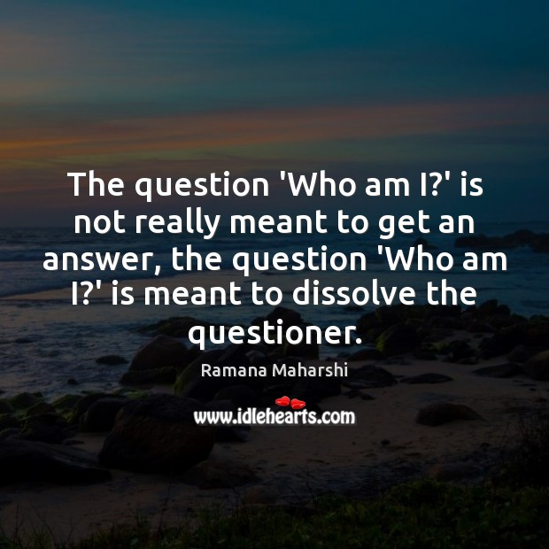 The question 'Who am I?' is not really meant to get Image