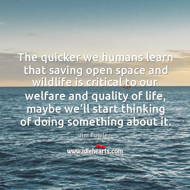 The quicker we humans learn that saving open space and wildlife Image
