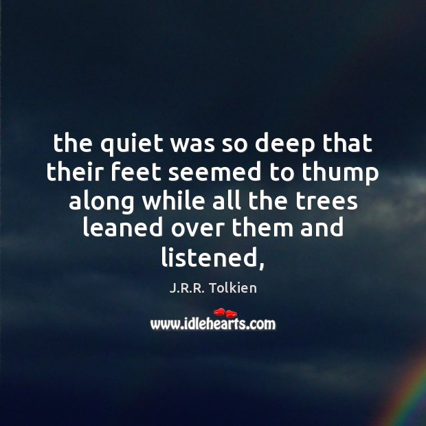 The quiet was so deep that their feet seemed to thump along Image