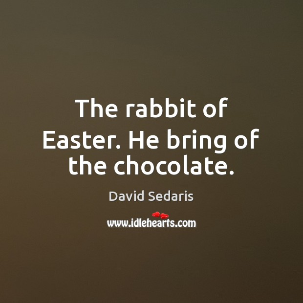 The rabbit of Easter. He bring of the chocolate. David Sedaris Picture Quote