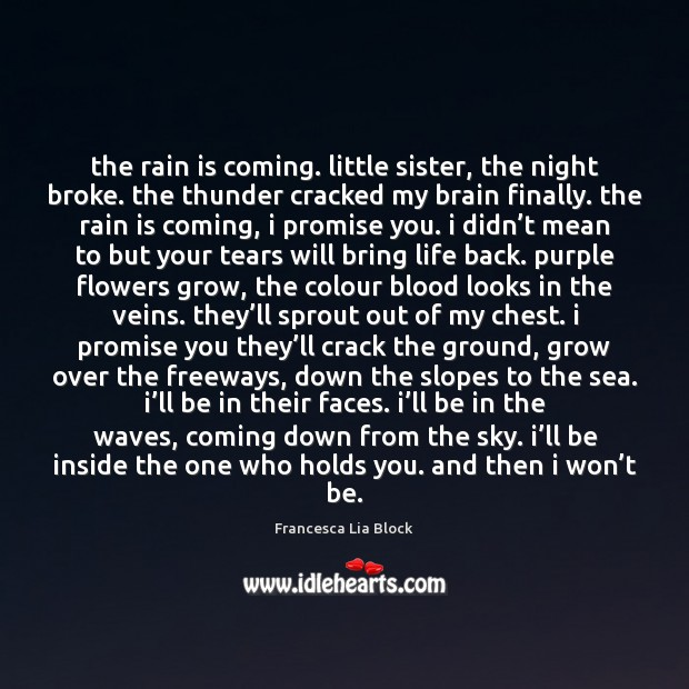The rain is coming. little sister, the night broke. the thunder cracked Image