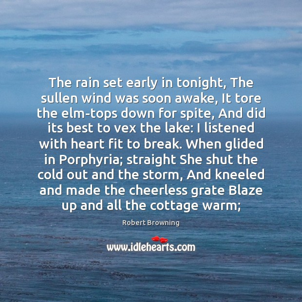 The rain set early in tonight, The sullen wind was soon awake, Robert Browning Picture Quote