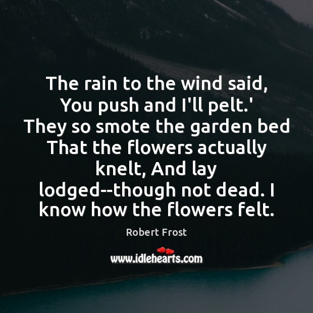 The rain to the wind said, You push and I'll pelt.' Robert Frost Picture Quote