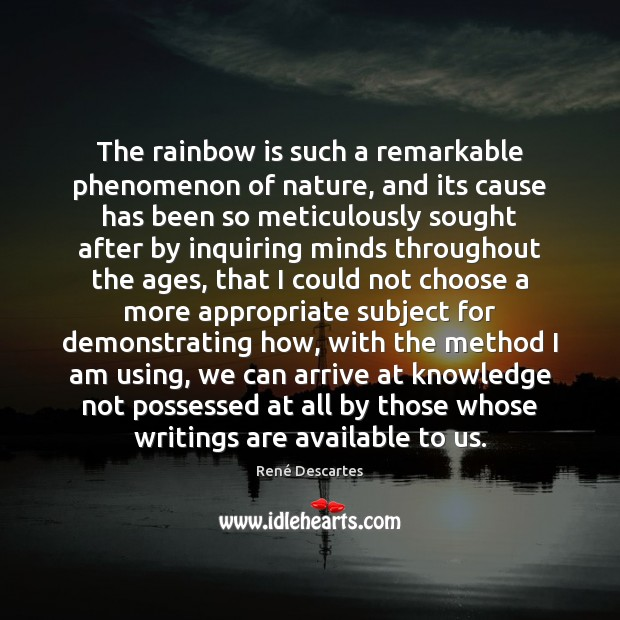 The rainbow is such a remarkable phenomenon of nature, and its cause Image