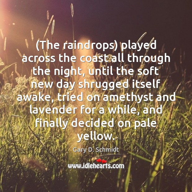 Image, (The raindrops) played across the coast all through the night, until the