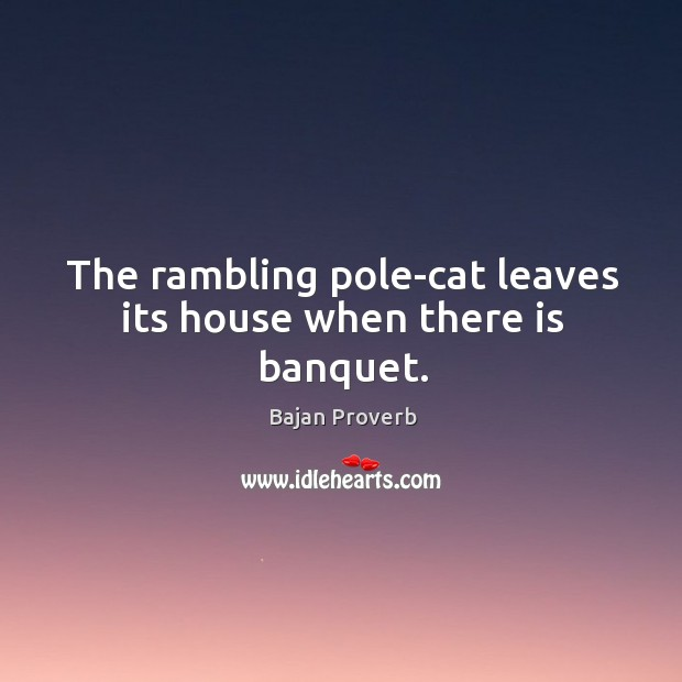 Image, The rambling pole-cat leaves its house when there is banquet.
