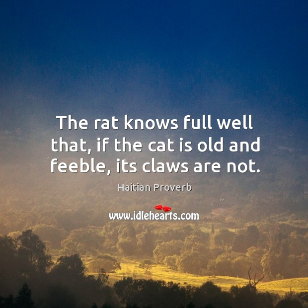 The rat knows full well that, if the cat is old and feeble, its claws are not. Haitian Proverbs Image