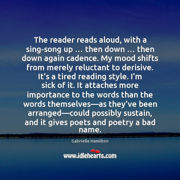 Image, The reader reads aloud, with a sing-song up … then down … then down