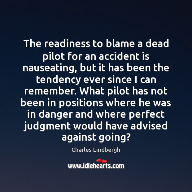The readiness to blame a dead pilot for an accident is nauseating, Image