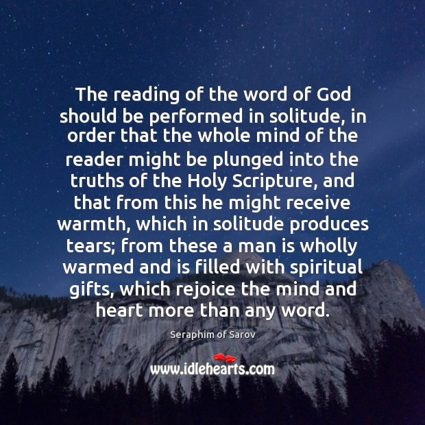 The reading of the word of God should be performed in solitude, Image