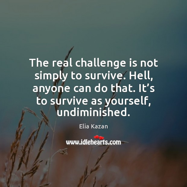The real challenge is not simply to survive. Hell, anyone can do Elia Kazan Picture Quote