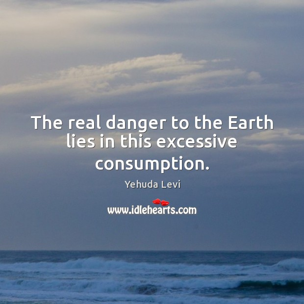 The real danger to the Earth lies in this excessive consumption. Image