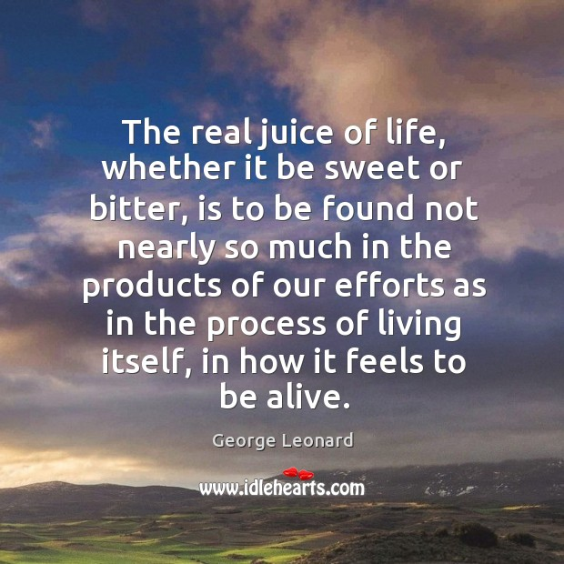The real juice of life, whether it be sweet or bitter, is George Leonard Picture Quote
