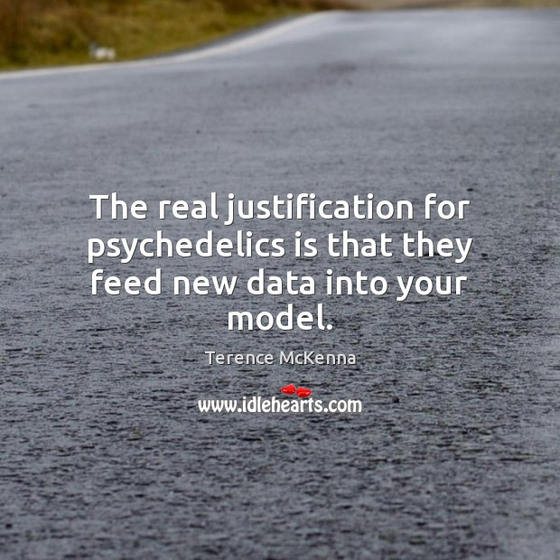 The real justification for psychedelics is that they feed new data into your model. Terence McKenna Picture Quote