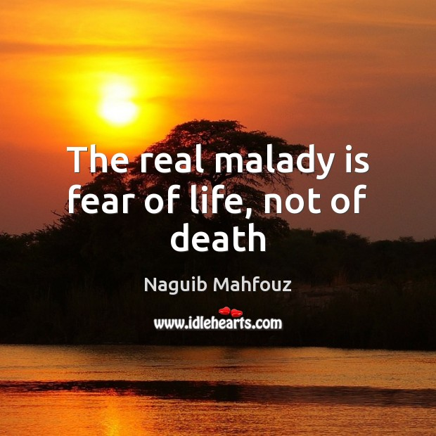 The real malady is fear of life, not of death Naguib Mahfouz Picture Quote