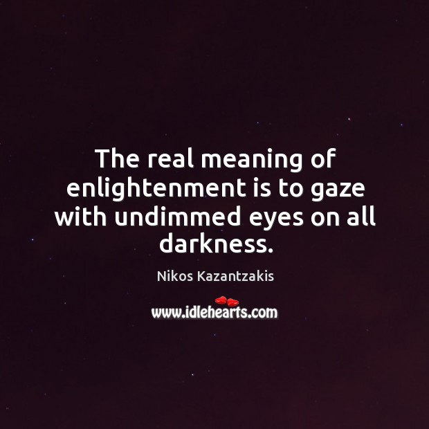 Image, The real meaning of enlightenment is to gaze with undimmed eyes on all darkness.