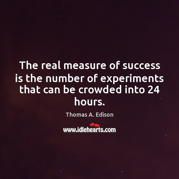The real measure of success is the number of experiments that can Thomas A. Edison Picture Quote