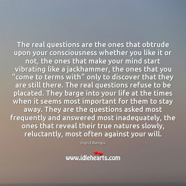 The real questions are the ones that obtrude upon your consciousness whether Image