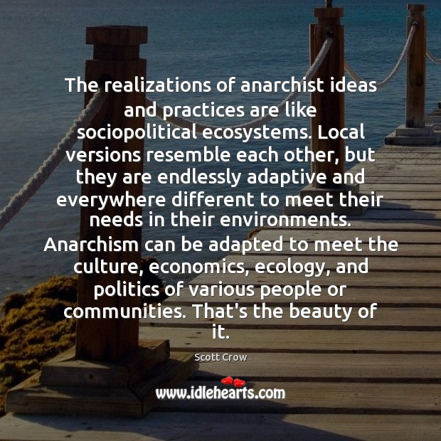 Image, The realizations of anarchist ideas and practices are like sociopolitical ecosystems. Local