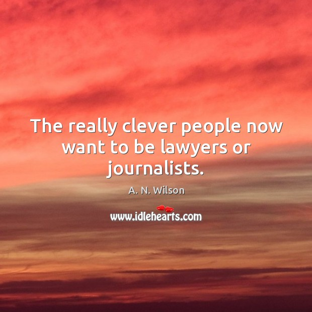 The really clever people now want to be lawyers or journalists. Image
