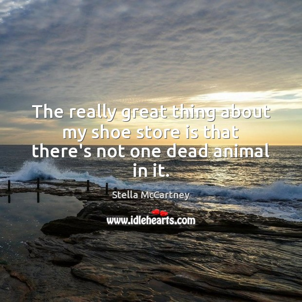 The really great thing about my shoe store is that there's not one dead animal in it. Stella McCartney Picture Quote