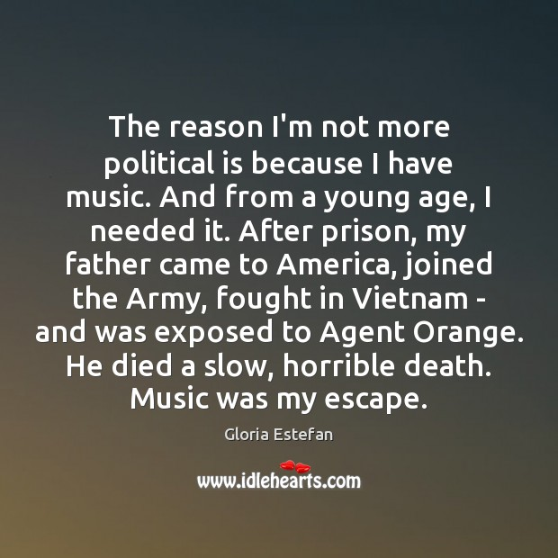 The reason I'm not more political is because I have music. And Image