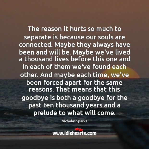 The Reason It Hurts So Much To Separate Is Because Our Souls