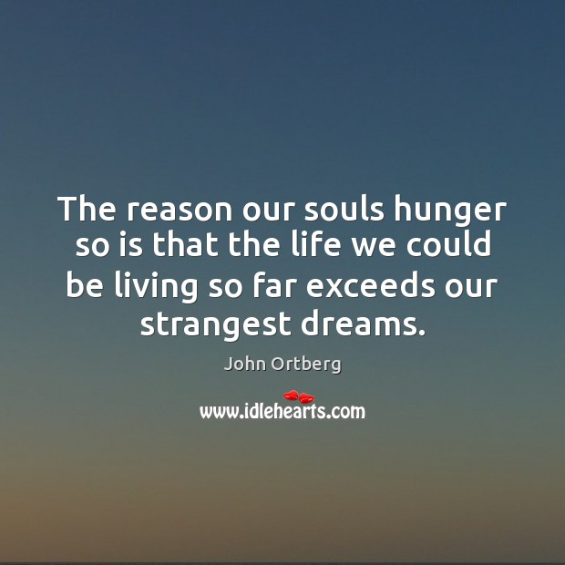 The reason our souls hunger so is that the life we could John Ortberg Picture Quote